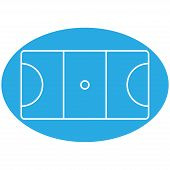 stock photo of netball  - Vector image of a blue netball court - JPG