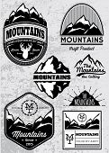 stock photo of recreate  - set of templates for emblems with different mountains - JPG