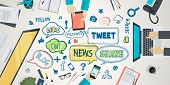 foto of network  - Using a variety of electronic equipment in the social network - JPG