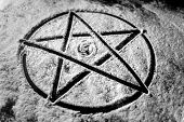 stock photo of pentagram  - Old steel Pentagram closeup photo on background - JPG