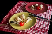 stock photo of no clothes  - Chinese jiaozi with tomato on green and red plates - JPG