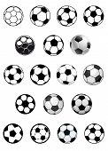stock photo of shoot out  - Black and white vector soccer balls or footballs isolated on white background for heraldic or sporting emblems design - JPG