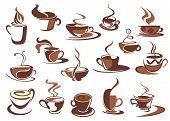 picture of steam  - Set of hot coffee icons and symbols with cups and mugs of steaming beverage in various shapes - JPG