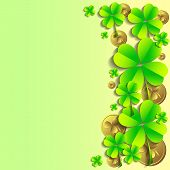 stock photo of shamrock  - Holiday card with shamrocks and coins on green background on St - JPG