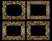 stock photo of brocade  - Ornate gold floral and foliate frames in elegant flowing patterns - JPG