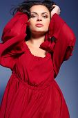 picture of marsala  - Beauty in marsala dress - JPG