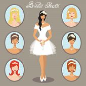 stock photo of bridal shower  - Lovely  bride female  and options hairstyles - JPG