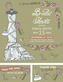 stock photo of dress mannequin  - Bridal shower template set - JPG