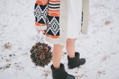 picture of pine cone  - Bride holding wedding bouquet made of pine cones - JPG