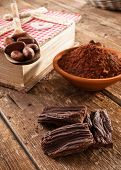 stock photo of cocoa beans  - Homemade chocolate using cocoa powder and cocoa beans - JPG