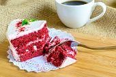 foto of red velvet cake  - Close up of Red velvet cake on sackcloth - JPG