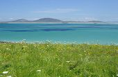 image of outer  - View from Aird a Mhorain Machair Leathann North Uist Outer Hebrides Beach of Traigh Lingeigh  - JPG