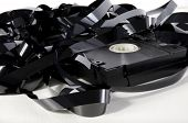 stock photo of magnetic tape  - Old video cassette that has is tangled tape - JPG