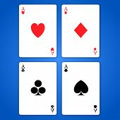 stock photo of ace spades  - poker of aces on blue background with shadow - JPG