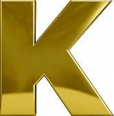 stock photo of letter k  - Gold metal K letter character isolated on white - JPG