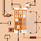 picture of assembly line  - Vector concept of mobile software application development process for smart phones - JPG