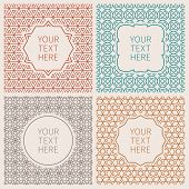 stock photo of outline  - Vector outline hipster style design templates of badges and labels - JPG