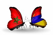 stock photo of armenia  - Two butterflies with flags on wings as symbol of relations Morocco and Armenia - JPG