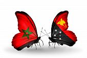 picture of papua new guinea  - Two butterflies with flags on wings as symbol of relations Morocco and Papua New Guinea - JPG
