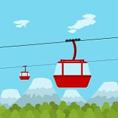 stock photo of ropeway  - Picture of red ropeway cabines with forest and mountain on background flat style illustration - JPG