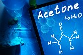stock photo of acetone  - Tablet with the chemical formula of Acetone - JPG