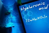 pic of formulas  - Tablet with the chemical formula of hyaluronic acid - JPG