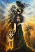 foto of canvas  - A beautiful oil painting on canvas of a mystical fairy priestess with a wolf by her side