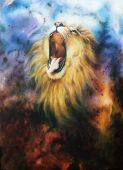 image of airbrush  - airbrush painting of a mighty roaring lion emerging from an abstract cosmical background - JPG