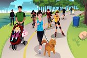 picture of dog park  - A vector illustration of people in a park doing activities - JPG