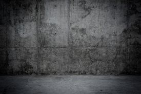 stock photo of stone floor  - Grungy concrete wall and stone floor room as background - JPG