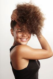 foto of afro hair  - girls have fun with her afro hair - JPG