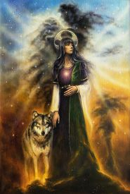stock photo of fairy  - A beautiful oil painting on canvas of a mystical fairy priestess with a wolf by her side A beautiful oil painting on canvas of a mystical fairy priestess with a wolf by her side walking together through universe - JPG