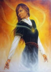 picture of wicca  - A beautiful painting oil on canvas of a young woman in medieval clothing with rays of light coming from her heart with white flames on orange background - JPG