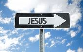 stock photo of jesus sign  - Jesus direction sign with sky background - JPG