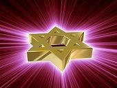 foto of covenant  - stylized image Star of David made of gold in the glow rays - JPG