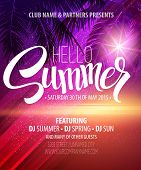 stock photo of beach party  - Hello Summer Beach Party Flyer - JPG