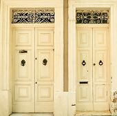 picture of olden days  - Two traditional exterior doors in Malta - JPG