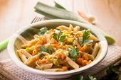 picture of leek  - pasta with carrot leek and pine nuts - JPG