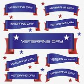 pic of veterans  - red and blue curved veterans day ribbon banners eps10 - JPG