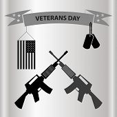 picture of grayscale  - american veterans day celebration in grayscale eps10 - JPG
