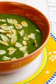 picture of ceramic bowl  - Swiss chard and potato cream soup with chopped roasted almonds in brown ceramic bowl - JPG