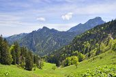 picture of bavaria  - Landscape on the mountain Breitenstein in the Alps with view to Wendelstein in Bavaria Germany - JPG