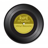 picture of rave  - Isolated vinyl record with the text rave music written on the record - JPG