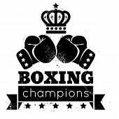 picture of crown  - Vintage logo for boxing with gloves and crown - JPG