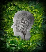 stock photo of pain-tree  - Inside depression concept and inner feelings of distress as a mental health symbol with a healthy green plant jungle window shaped as a human head and a dead tree as a suffering face for psychology examination - JPG