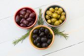 image of kalamata olives  - A selection of three different types of olives - JPG