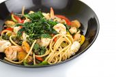 image of thai cuisine  - spicy spaghetti thai cuisine on white background - JPG