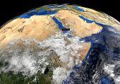 image of eritrea  - Eritrea flag on pole on earth globe illustration  - JPG