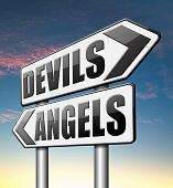 stock photo of hells angels  - devils and angels good or bad heaven and hell - JPG