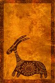 pic of african animals  - Background with grunge paper texture and African traditional animal - JPG